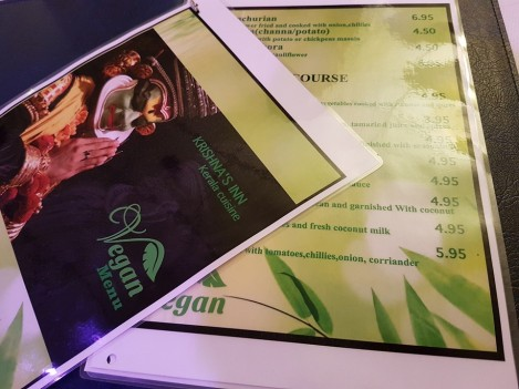 krishnas inn  menu