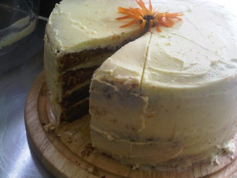 spotless leopard 4-tiered carrot, orange and apricot cake