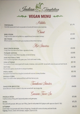 Indian Temptation vegan menu