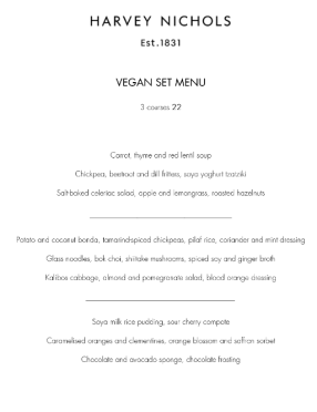 harvey nichols menu