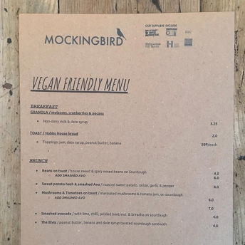 mockingbird menu